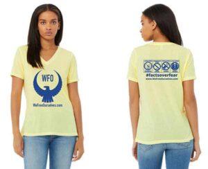 Womens-Vneck-Tshirt-Yellow